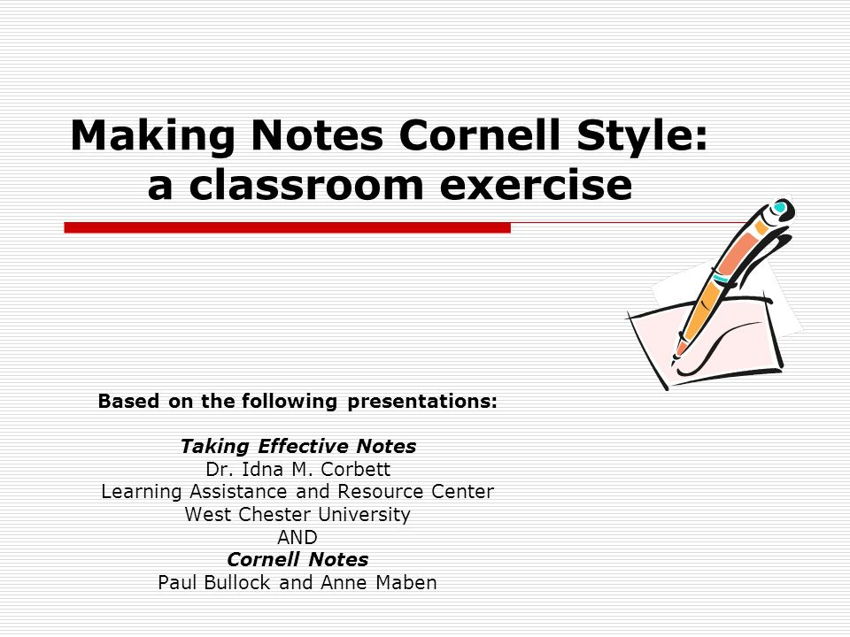 Making Notes Cornell Style: a classroom exercise