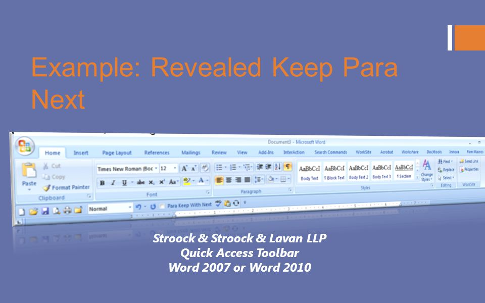 Example: Revealed Keep Para Next