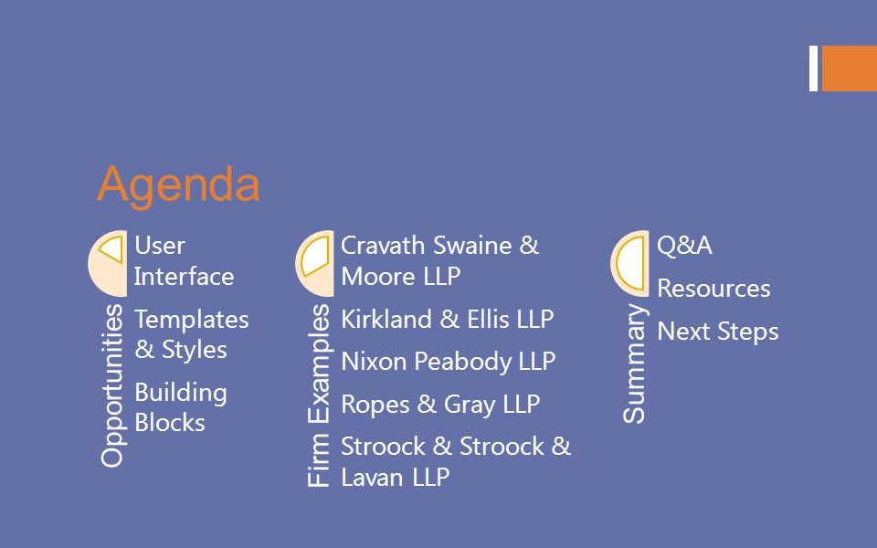 Agenda Opportunities Firm Examples Summary User Interface