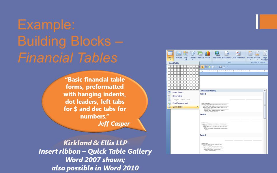 Example: Building Blocks – Financial Tables