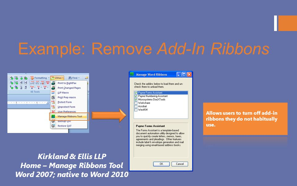 Example: Remove Add-In Ribbons