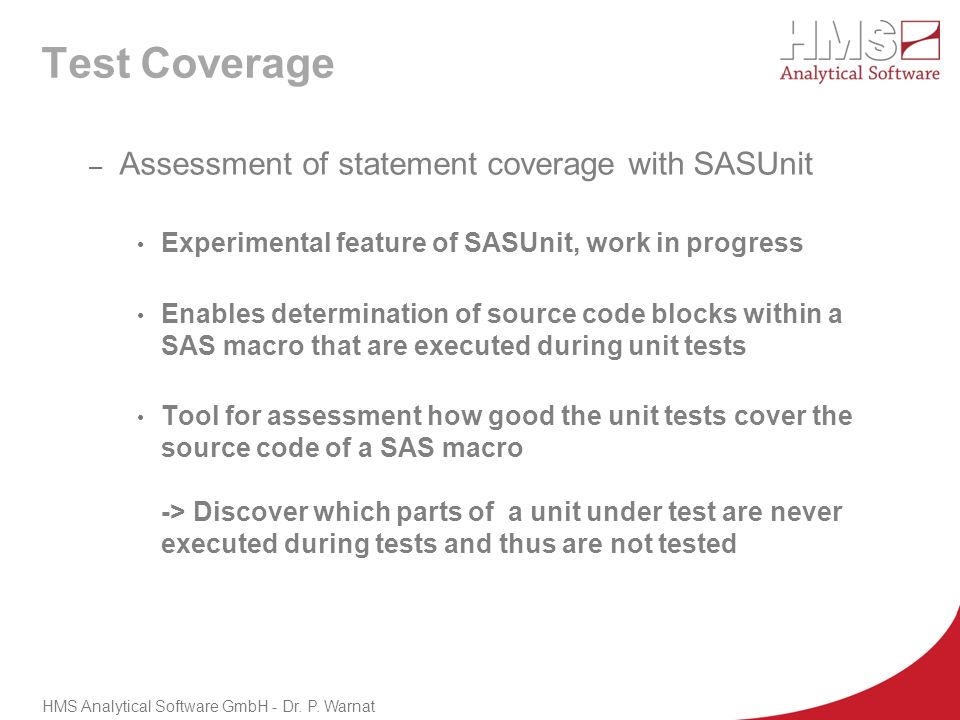 Test Coverage Assessment of statement coverage with SASUnit