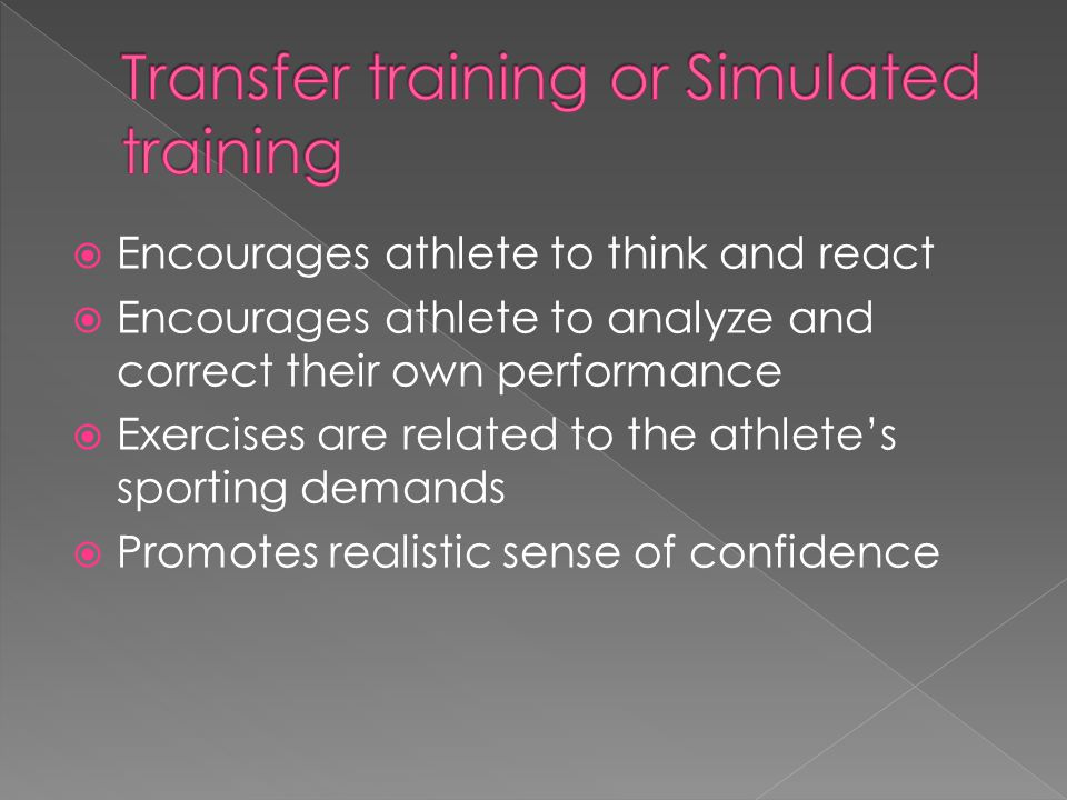 Transfer training or Simulated training