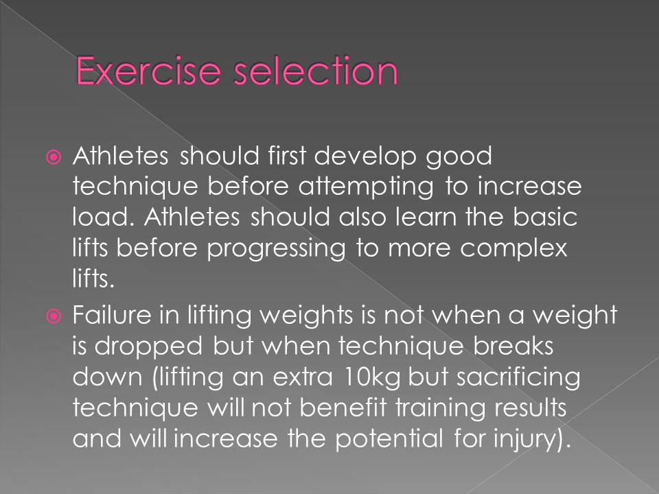 Exercise selection