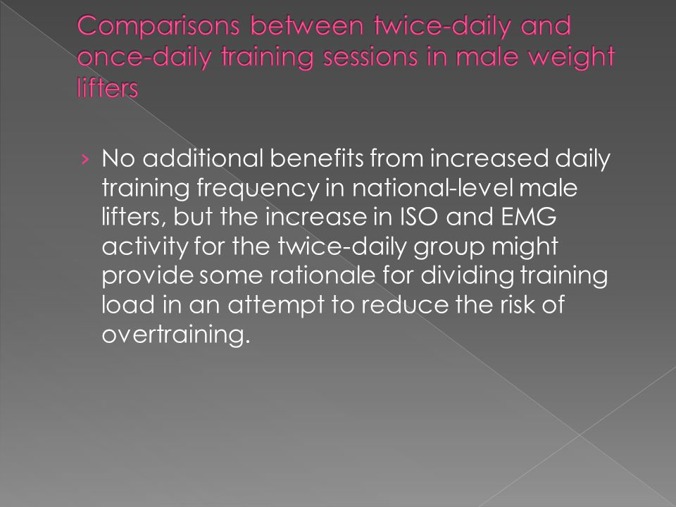 Comparisons between twice-daily and once-daily training sessions in male weight lifters