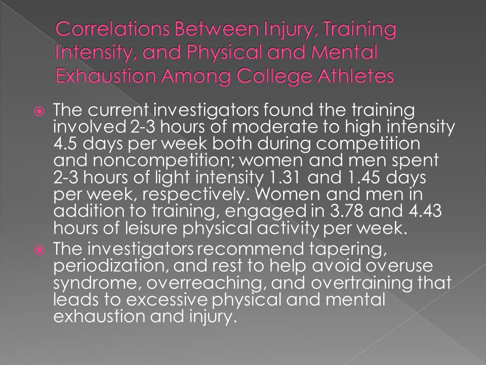 Correlations Between Injury, Training Intensity, and Physical and Mental Exhaustion Among College Athletes