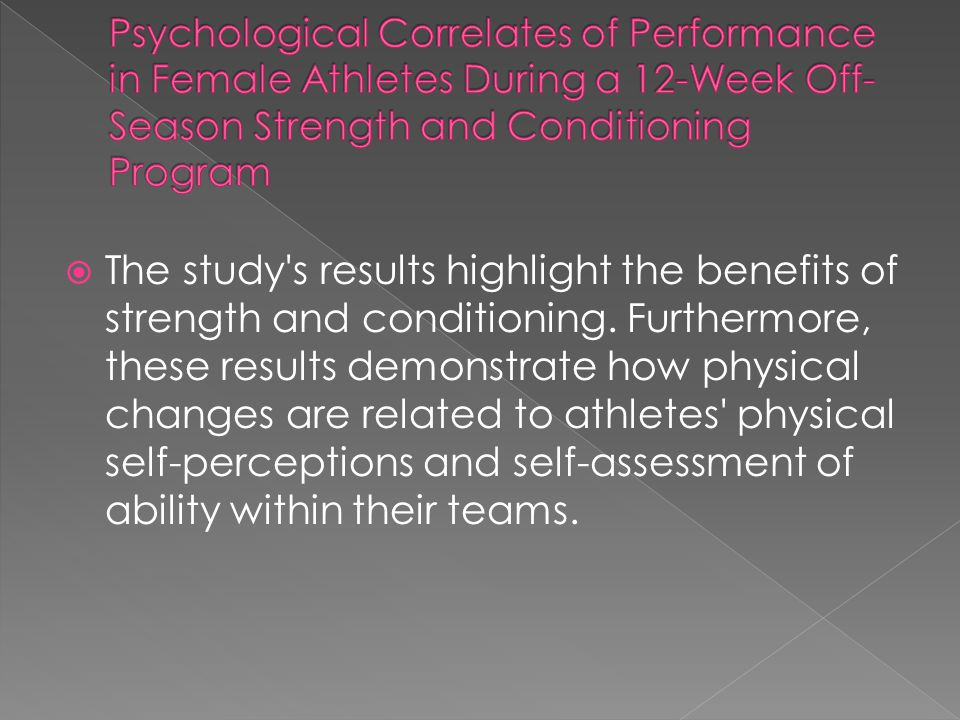 Psychological Correlates of Performance in Female Athletes During a 12-Week Off-Season Strength and Conditioning Program