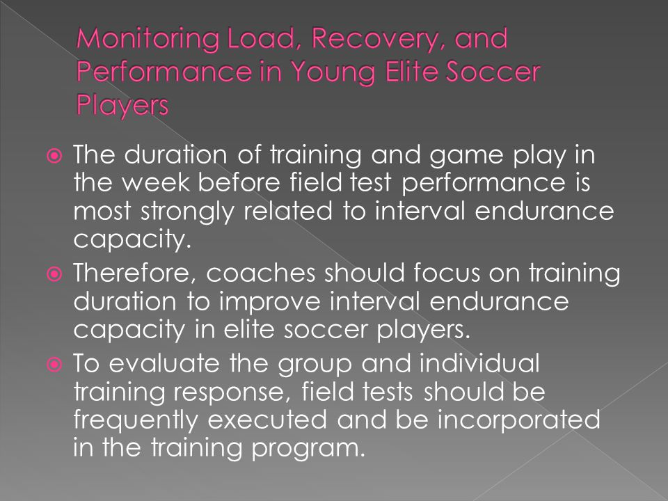 Monitoring Load, Recovery, and Performance in Young Elite Soccer Players