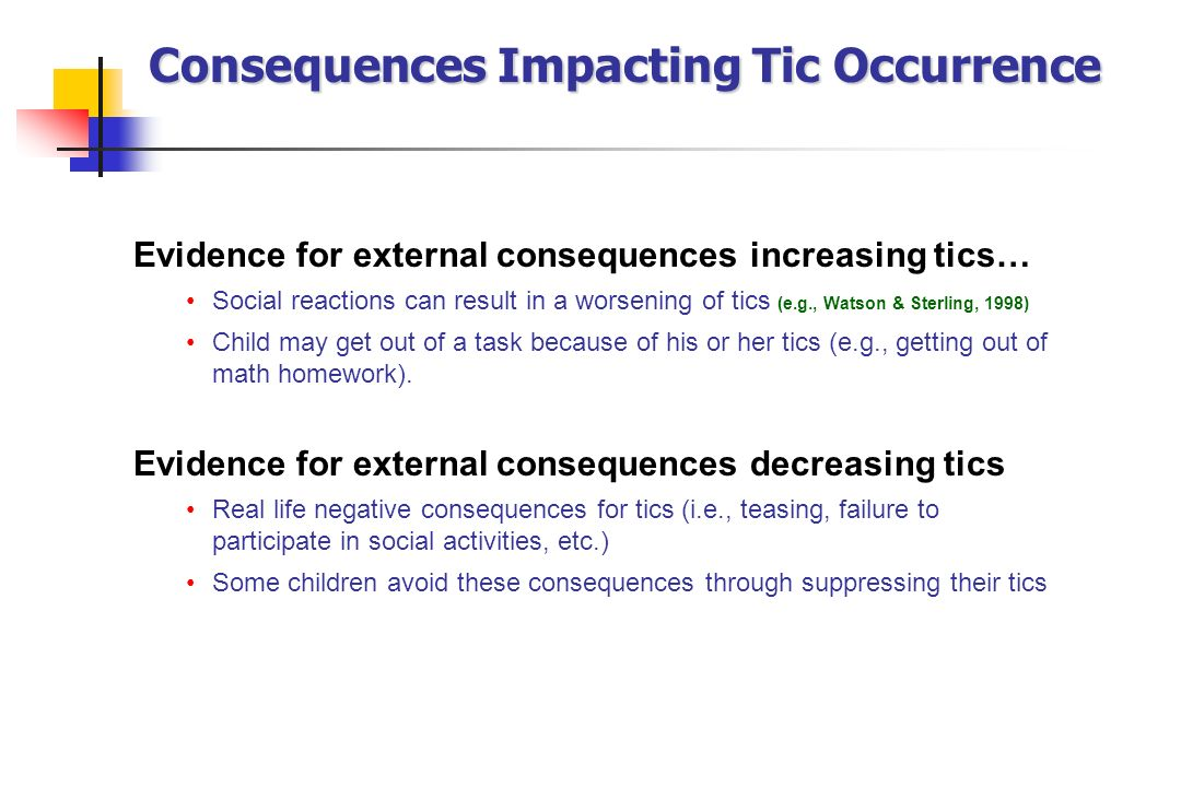 Consequences Impacting Tic Occurrence