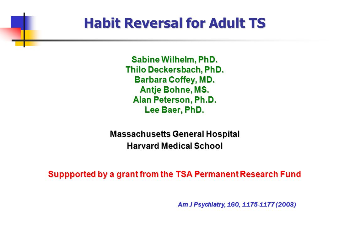 Habit Reversal for Adult TS