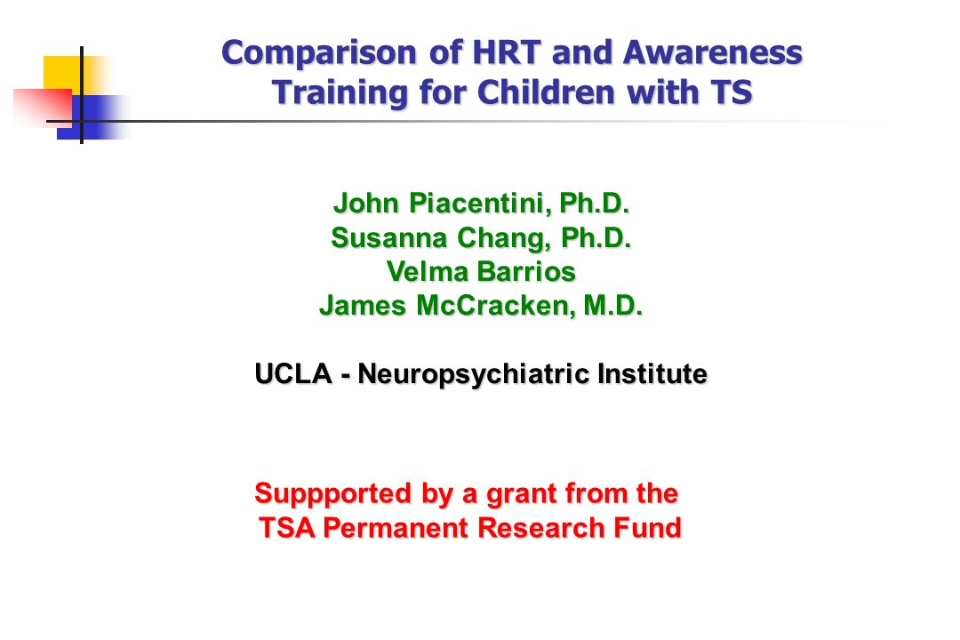 Comparison of HRT and Awareness Training for Children with TS