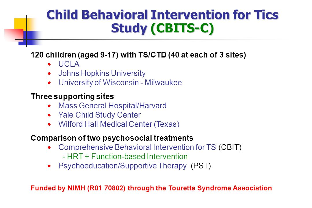 Child Behavioral Intervention for Tics Study (CBITS-C)