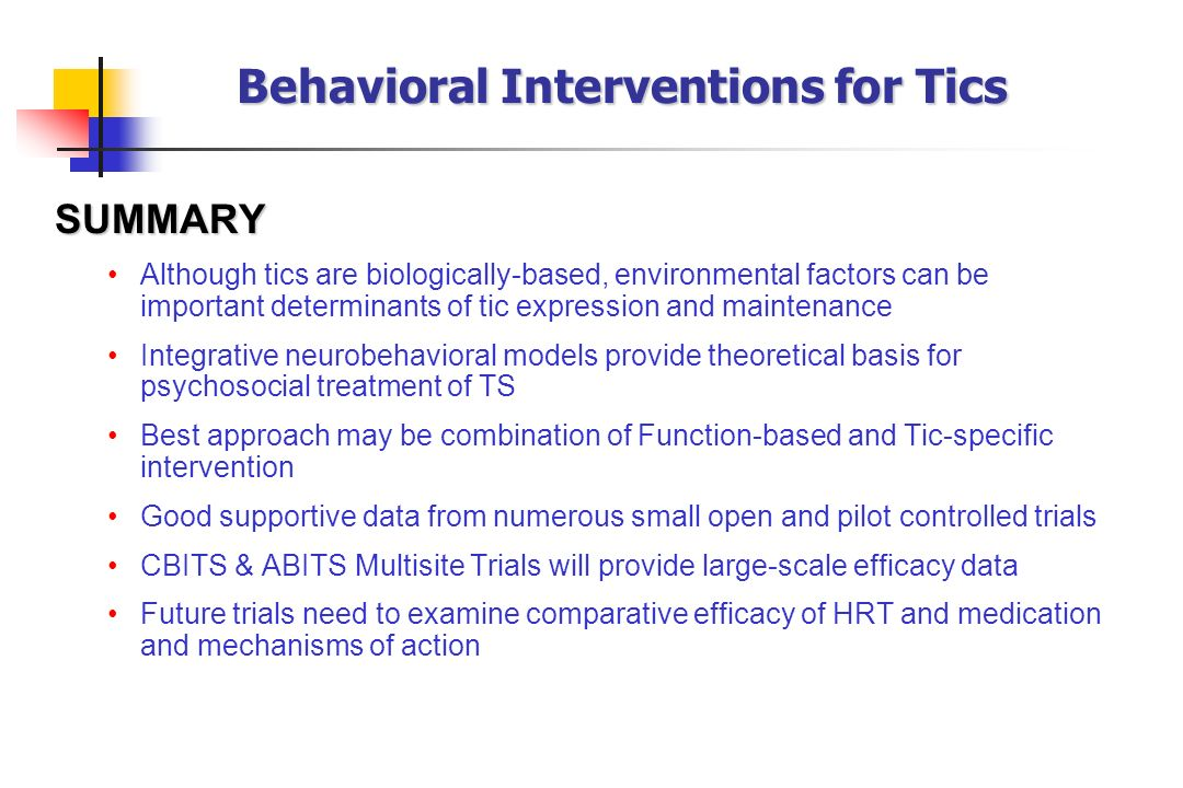 Behavioral Interventions for Tics