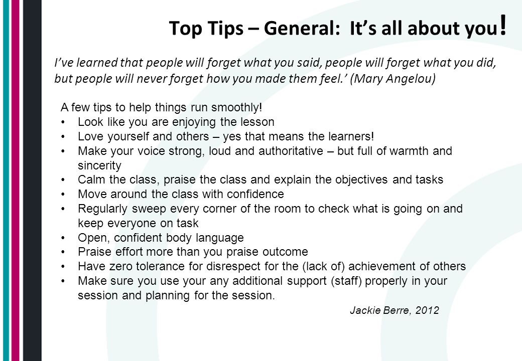 Top Tips – General: It's all about you!