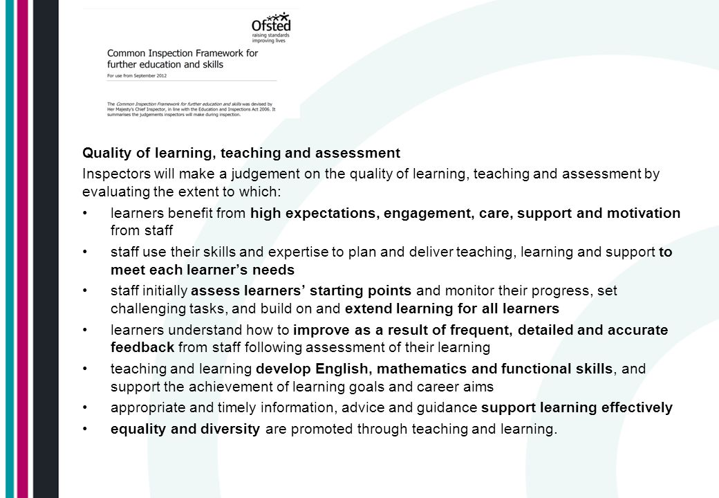 Quality of learning, teaching and assessment