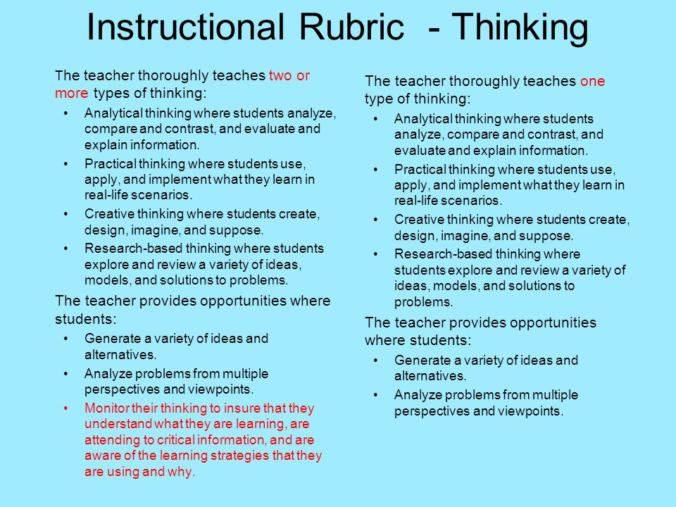 Instructional Rubric - Thinking