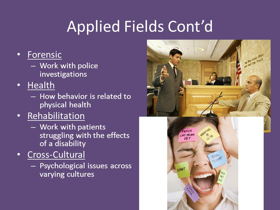 Applied Fields Cont'd Forensic Health Rehabilitation Cross-Cultural