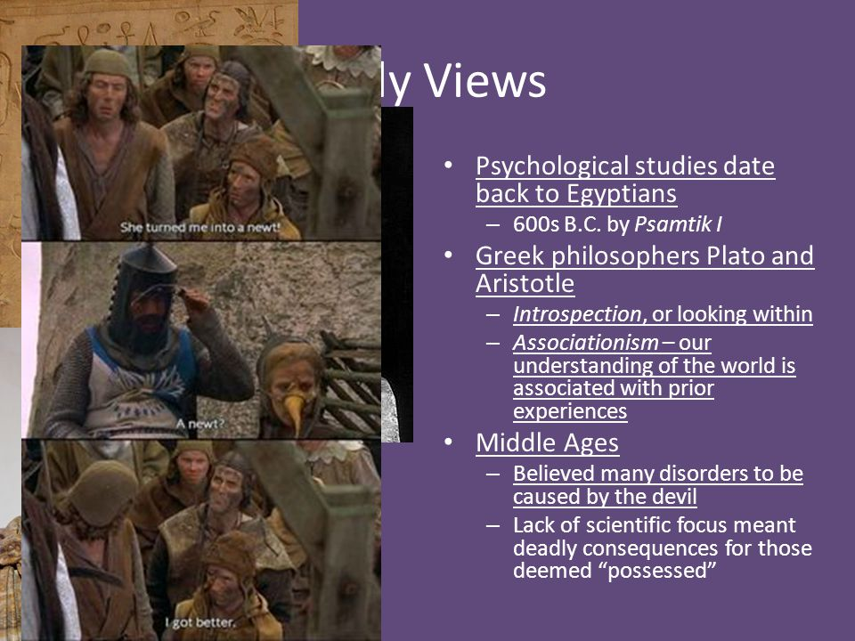 Early Views Psychological studies date back to Egyptians
