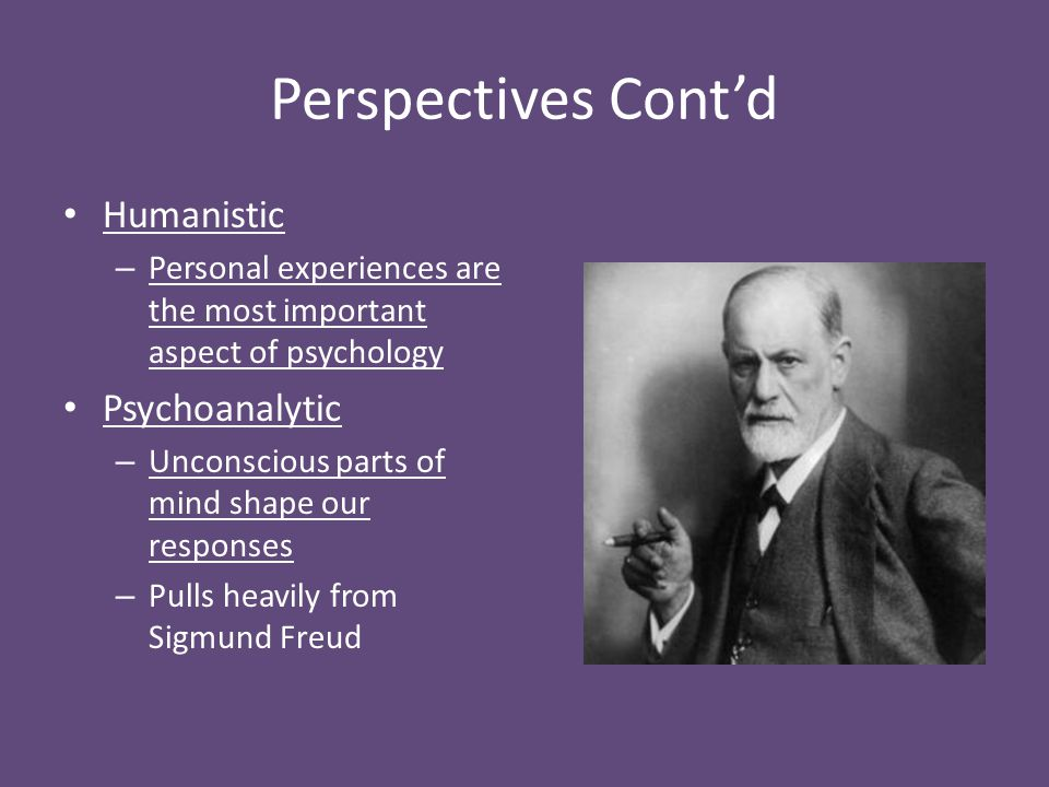 Perspectives Cont'd Humanistic Psychoanalytic