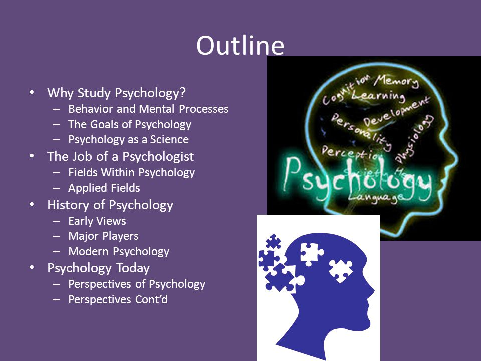 Outline Why Study Psychology The Job of a Psychologist