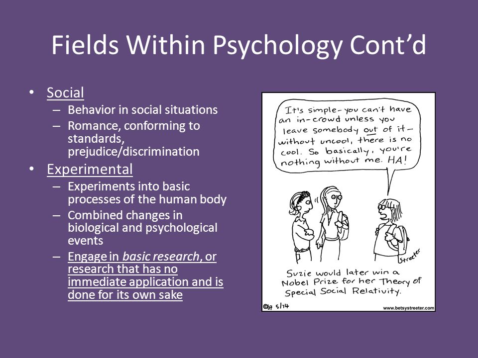 Fields Within Psychology Cont'd