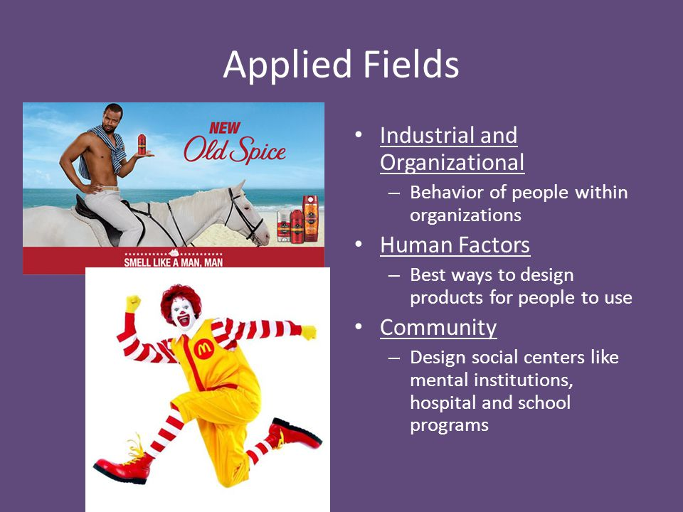 Applied Fields Industrial and Organizational Human Factors Community