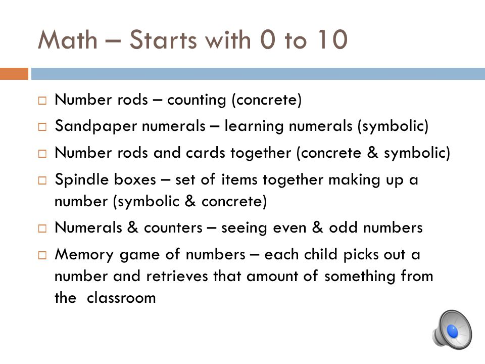 Math – Starts with 0 to 10 Number rods – counting (concrete)