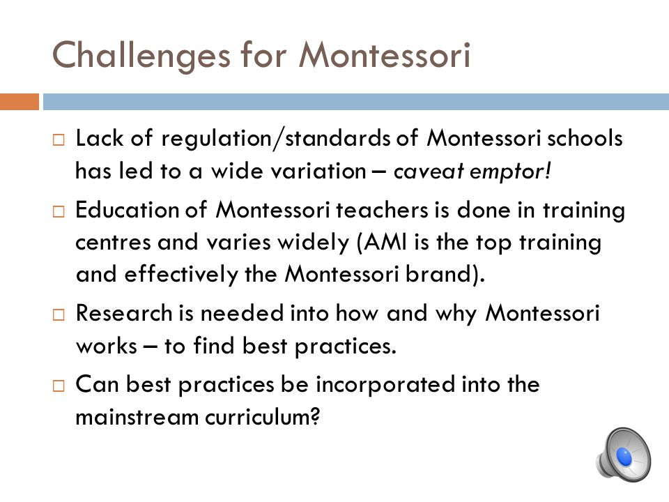 Challenges for Montessori