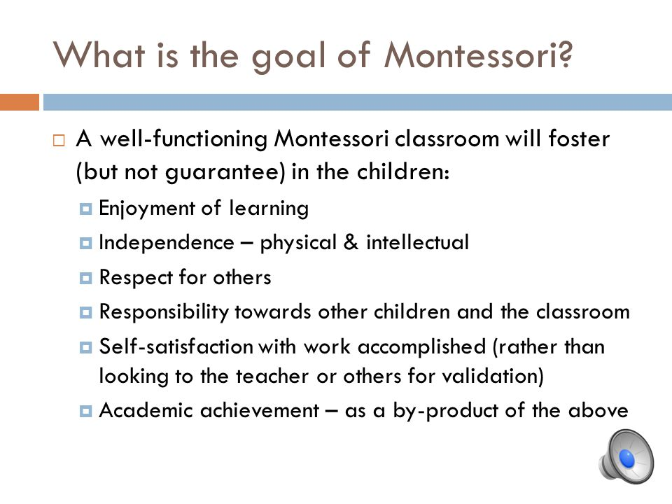 What is the goal of Montessori