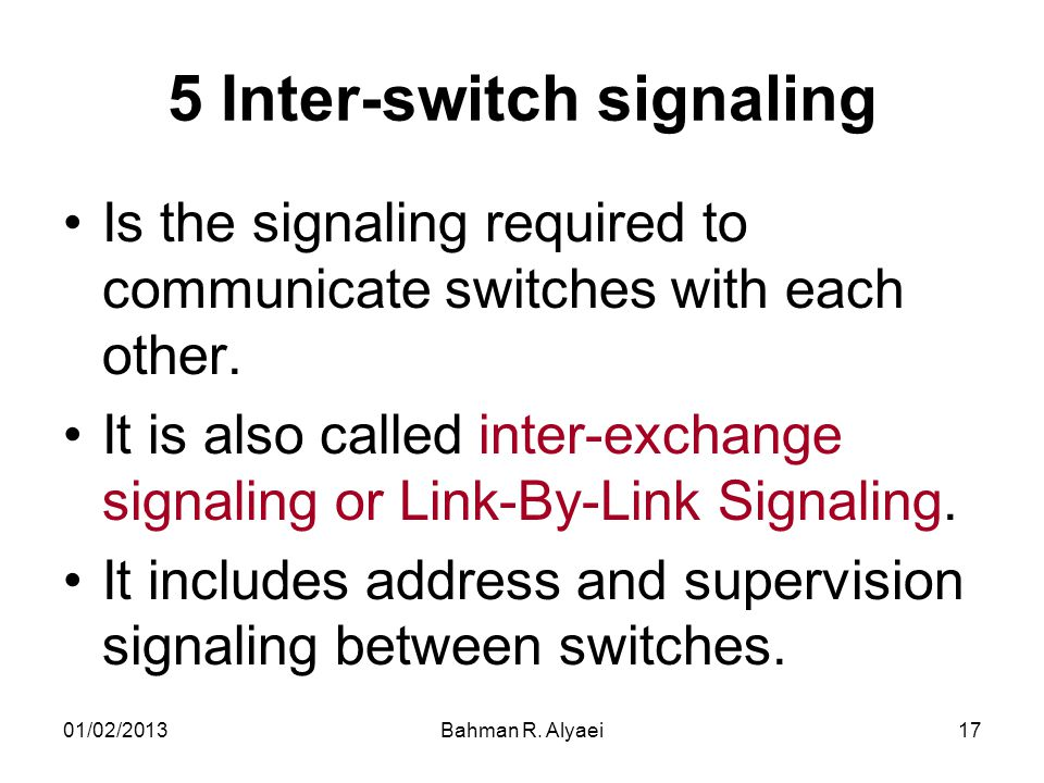5 Inter-switch signaling