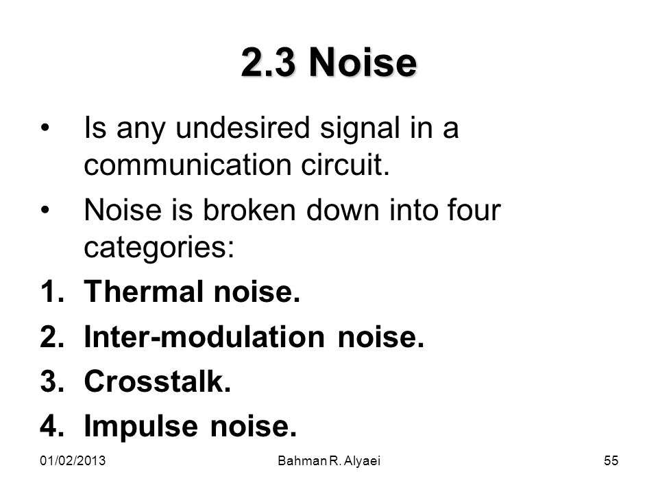 2.3 Noise Is any undesired signal in a communication circuit.