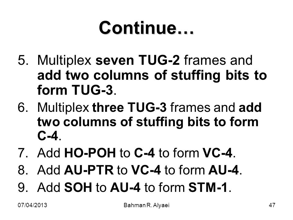 Continue… Multiplex seven TUG-2 frames and add two columns of stuffing bits to form TUG-3.