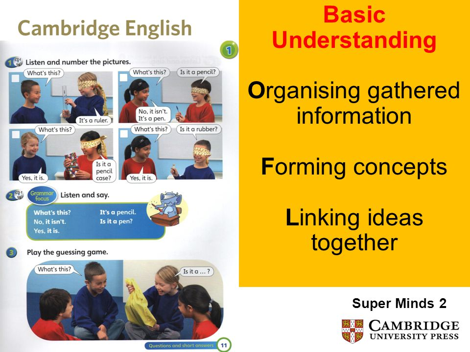 Basic Understanding Organising gathered information Forming concepts Linking ideas together