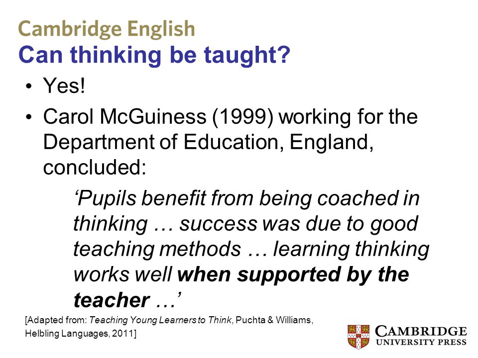 Can thinking be taught Yes!