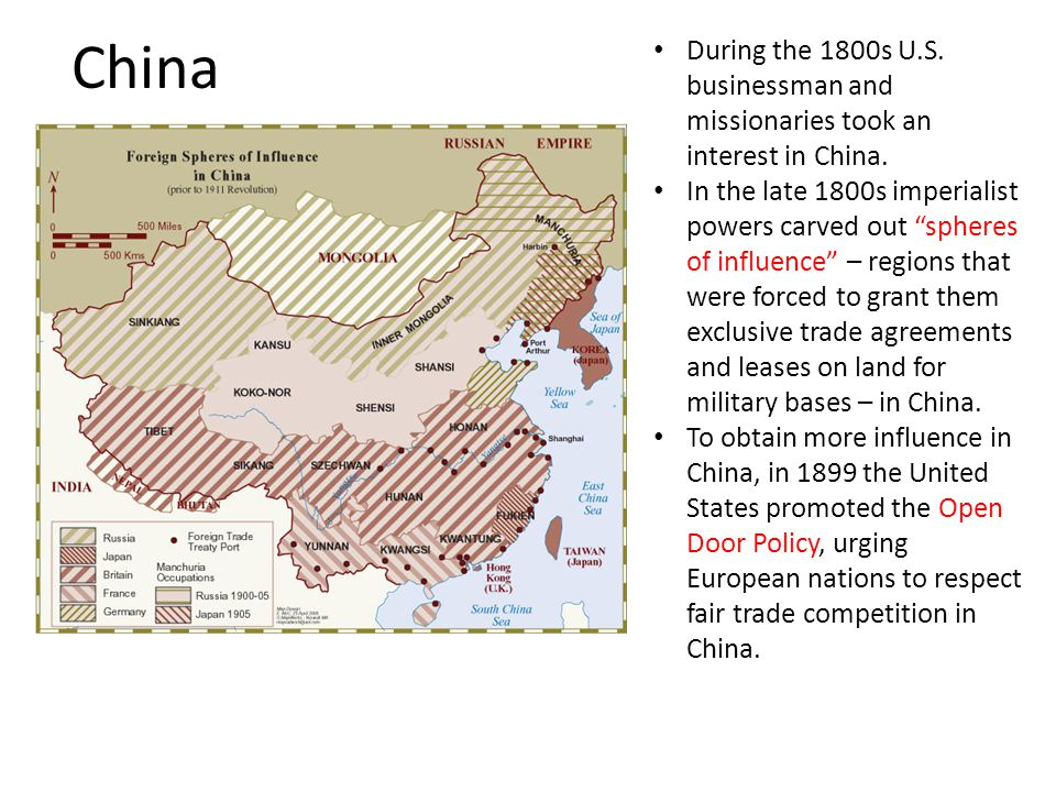 China During the 1800s U.S. businessman and missionaries took an interest in China.