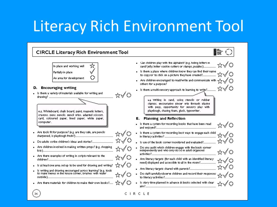 Literacy Rich Environment Tool