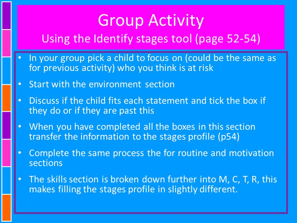 Group Activity Using the Identify stages tool (page 52-54)