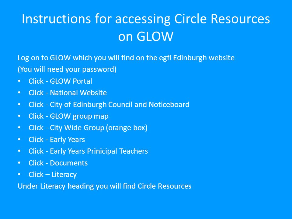 Instructions for accessing Circle Resources on GLOW