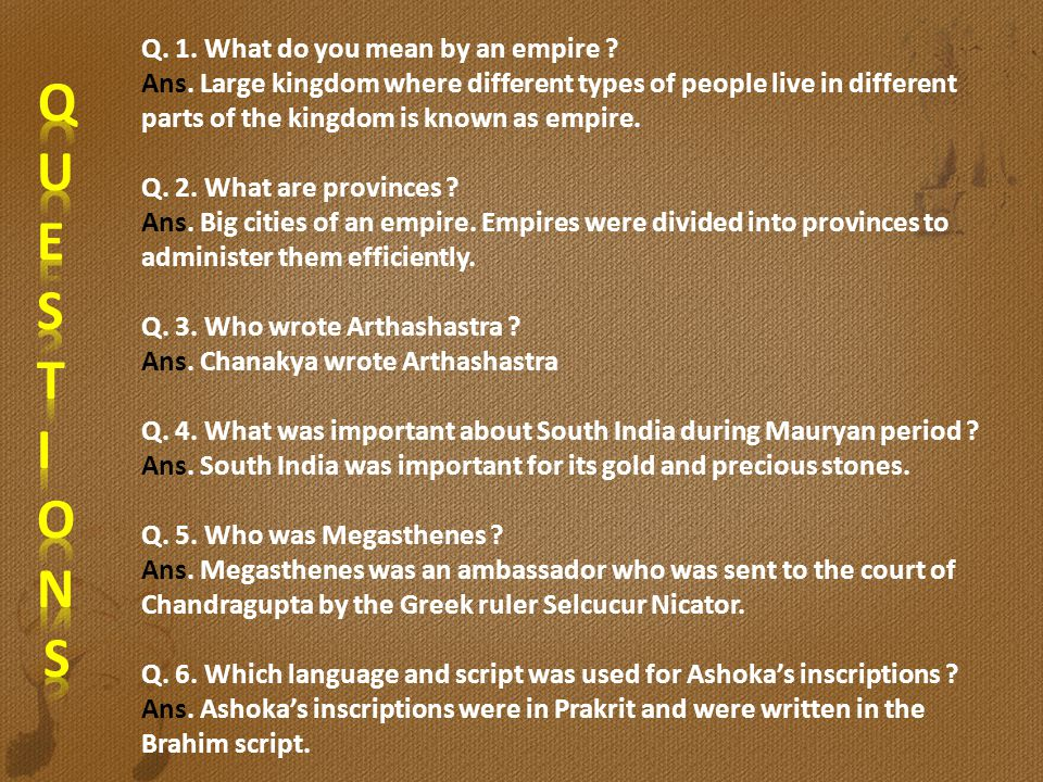 Q. 1. What do you mean by an empire. Ans