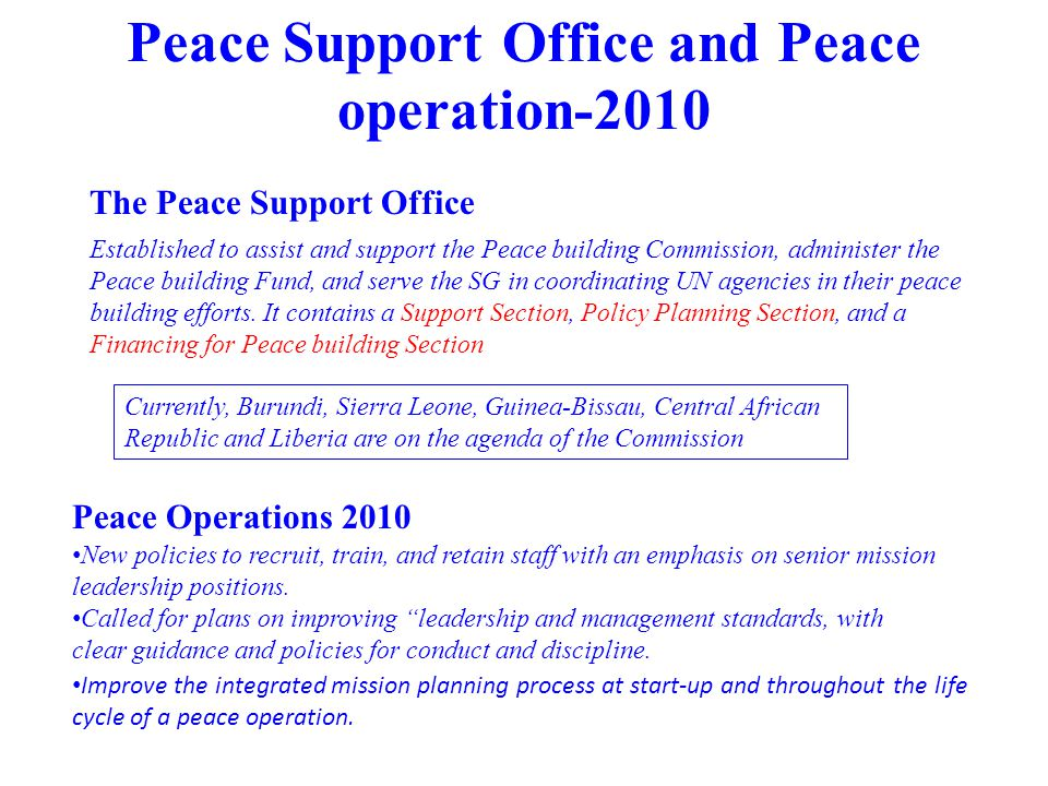 Peace Support Office and Peace operation-2010
