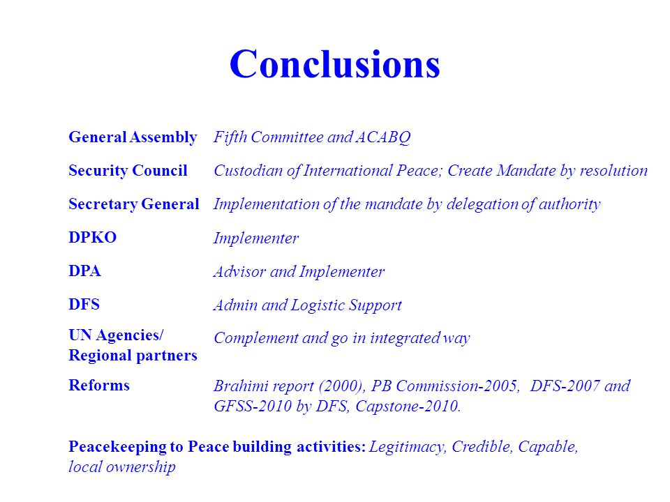 Conclusions General Assembly Fifth Committee and ACABQ