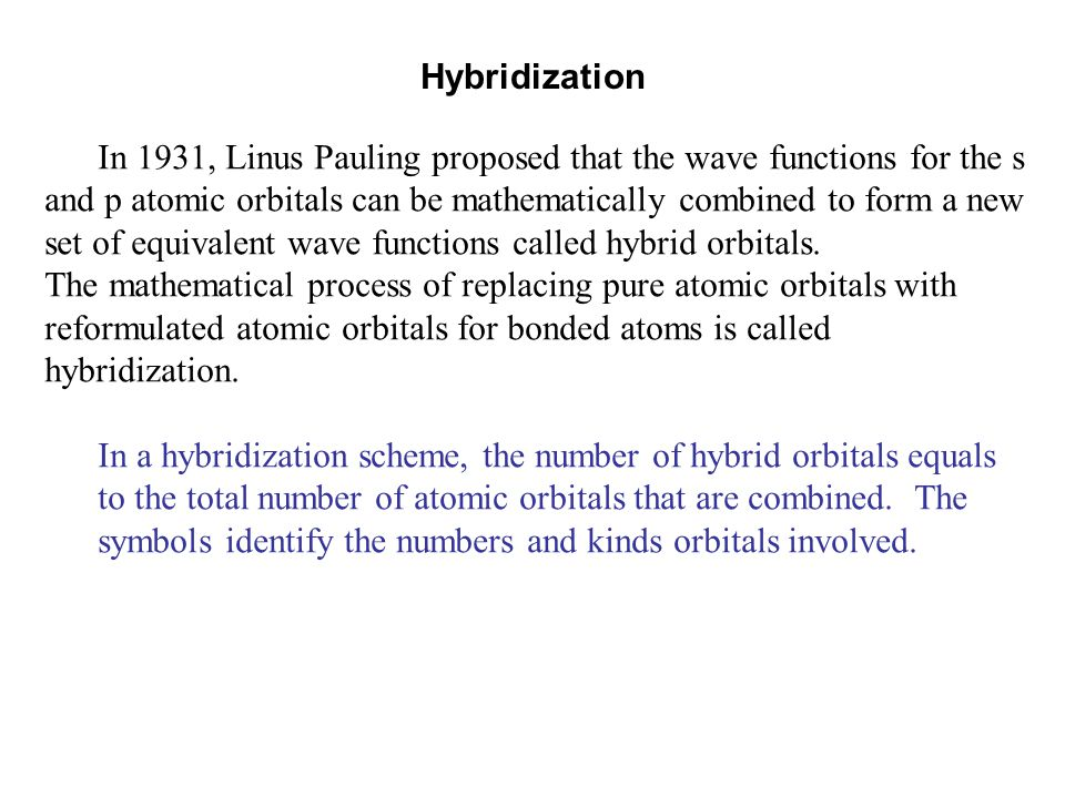 Hybridization In 1931, Linus Pauling proposed that the wave functions for the s. and p atomic orbitals can be mathematically combined to form a new.