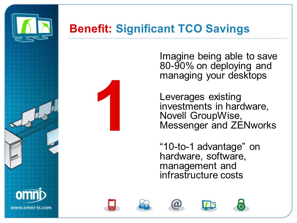 Benefit 1: Significant TCO Savings