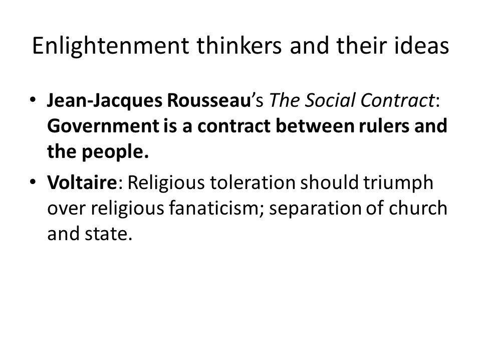 Enlightenment thinkers and their ideas