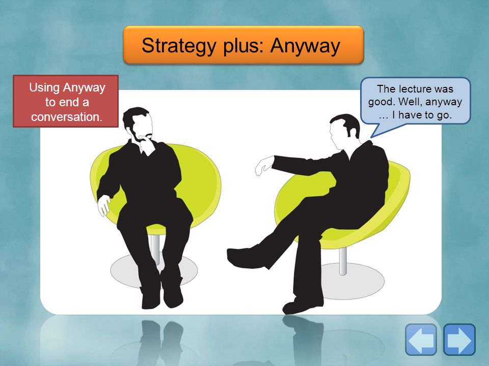 Strategy plus: Anyway Using Anyway to end a conversation.