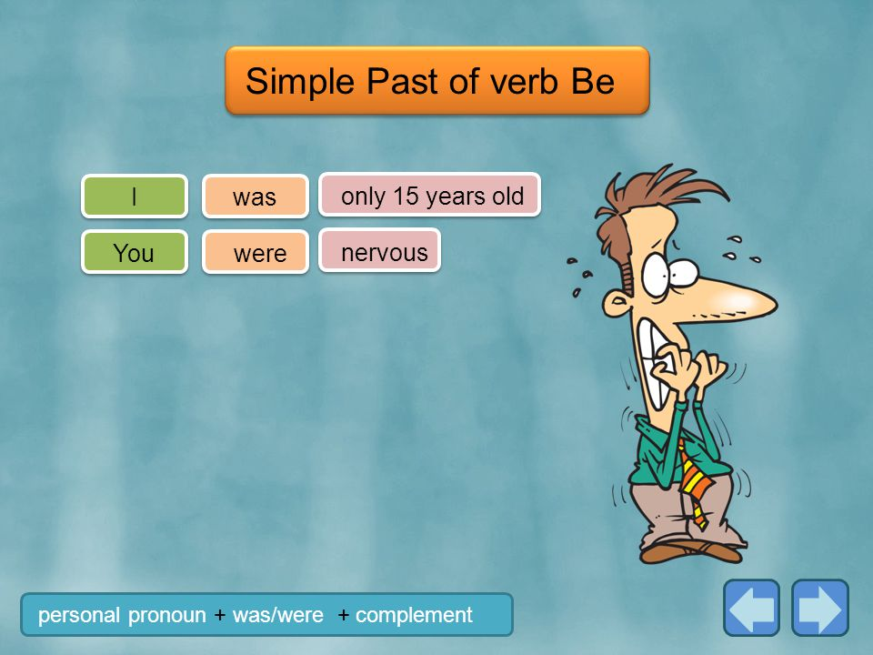 Simple Past of verb Be I was only 15 years old You were nervous