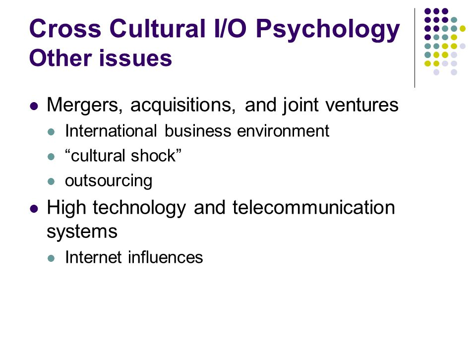 Cross Cultural I/O Psychology Other issues