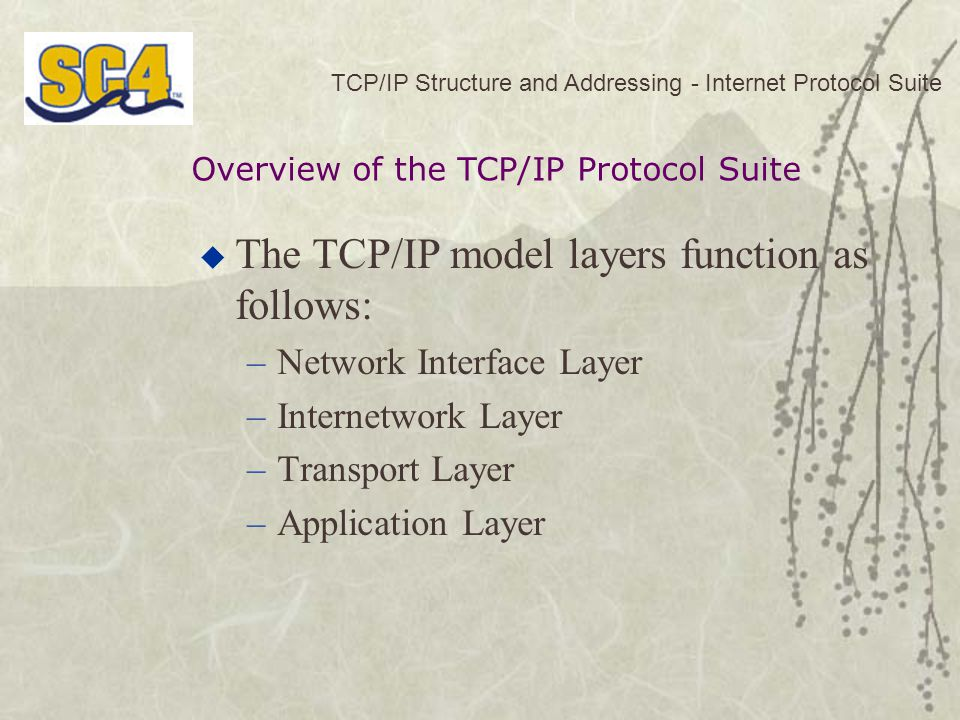 The TCP/IP model layers function as follows: