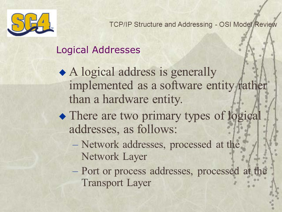 There are two primary types of logical addresses, as follows: