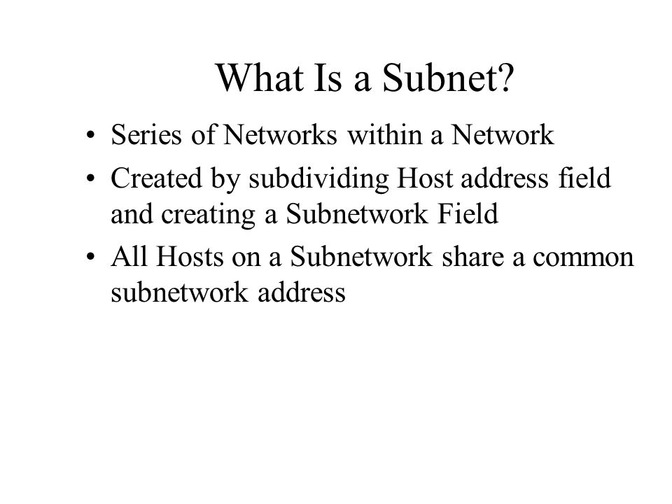 What Is a Subnet Series of Networks within a Network